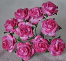 1.5cm CERISE PINK Mulberry Paper Roses